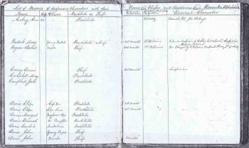 Page from PC Williams' list of Thieves and Prostitutes