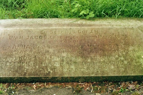 The later (and inaccurate) gravestone marking the graves of Sarah Jacob and her parents (c) RWI