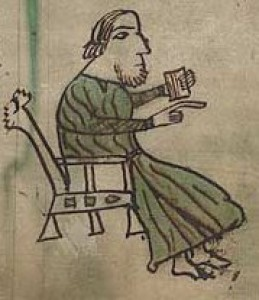 Portrayal of a Judge in Hywel Dda MS f.4.r. By Permission of Llyfrgell Genedlaethol Cymru/ The National Library of Wales